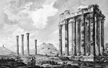 Οι στυλίτες του Ολυμπιείου. Πηγή: Le Roy, 1758
